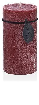 Stumpenkerze DLux durchgefärbt BORDEAUX  Alu-Sicherheitsfolie H65 Ø50 mm  handgegossen