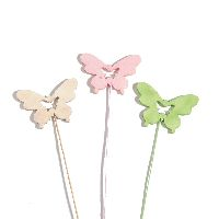 Schmetterling Woody ROSA-GRUEN-NATUR 34844 Stecker 6cm Holz