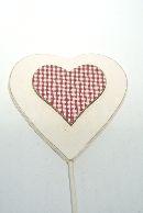 Herz mit Karoherz WEISS-ROT  13228 Stecker  9x8,5x0,6cm