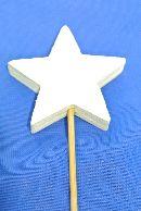 Stern-Stecker aus Holz WEISS  13274 5x0,9cm