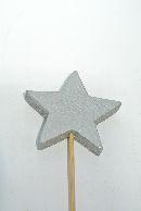 Stern-Stecker aus Holz SILBER  13274 5x0,9cm