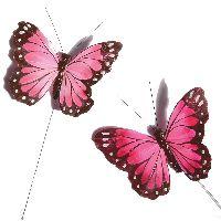 Schmetterling Stecker ROSA-PINK-GEMISCHT 10x7cm 37019