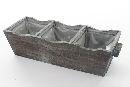 Holz Pflanzbox 3er NATUR 95358 35x12,5x9cm