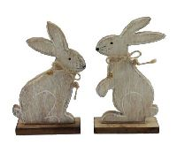 Hase Flori braun-washed 16236 9,5x15,5cm Holz 2-fach sort.