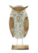 Eule Ingrid 35819 CREME-BRAUN / 2 Stück 24,7x9,6x5cm / Holz Wolle