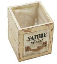Schubladenbox mit Innenfolie VINTAGE 20-5422 Holz NATURE Druck 12x12xH12cm
