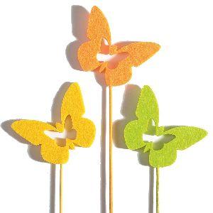 Stecker Felt / Filzstecker ORANGE-GELB-GRÜN Holzstiel Schmetterling 7x5,5x0,5cm33420