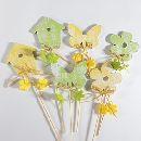 Stecker-Mix Frühling GELB-GRÜN Blume Schmetterling ca. 8x8cm 83067 Vogelhaus