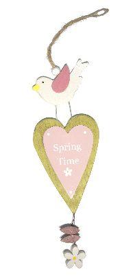 Dekohänger Spring Time GRÜN-ROSA-WEISS 16180 16x7,5 cm L:32cm  Holz 4 Stück