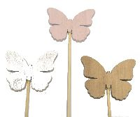 Stecker Swiff GRAU-ROSA-WEISS 35155 Schmetterling 6x0,5x5cm Holz