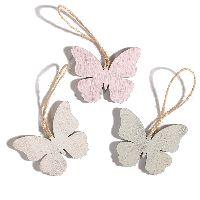 Hänger Swiff GRAU-ROSA-WEISS 35154 3Farben Schmetterling 6x0,5x5cm Holz