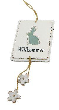 Schild Willkommen mit Deko WEISS-VINTAGE-LOOK 63239 Hase 11,5x14cm Länge=37cm Holz