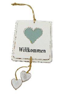 Schild Willkommen mit Deko WEISS-VINTAGE-LOOK 63239 Herz 11,5x14cm Länge=37cm Holz