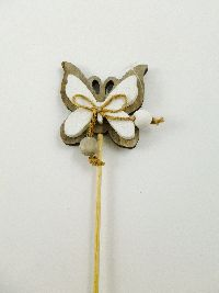 Schmetterlingstecker Holz 65041 NATUR-WEISS 8x6x5,5cm