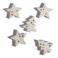Streusortiment Stars WEISS 70237 5x0,8cm Stern/Tanne