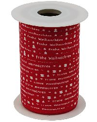 Polyband Frohe Weihnachten ROT 8164 Ringelband mit Spruch 10mm  150Meter Ziehband