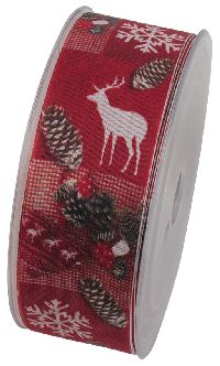 X-MAS and more Weihnachtsband ROT X672 40mm 20Meter formstabile Kante
