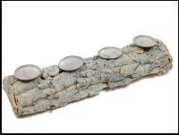 Kerzenhalter Rindenholz NATUR-WASH 22-5485 51x15cm H:9cm  4 Kerzenteller