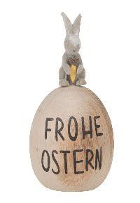 Ei mit Spruch FROHE OSTERN NATUR 24358 Holz Dekoei 5,7x13cm mit Hasenfigur