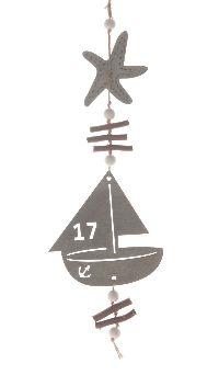 Segelboot Dekohänger 23307 TAUBENBLAU Holz L:58cm B:14,5cm Dicke:0,5cm