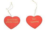 Herzhänger mit Spruch rot-gold HerzlichenGlückwunsch 4cm   Zum Muttertag /
