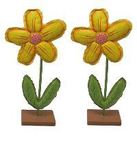 Blume zum Stellen GELB Kunstleder+Holz 9x3,5x21,5cm (LxBxH)