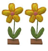 Blume zum Stellen GELB Kunstleder + Holz 11,5x4x26cm (LxBxH)