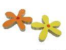 Blüte zum Hängen aus Holz GELB-ORANGE 8cm