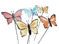 Schmetterling am Stab 5-farbig sortiert  Metall B:17cm L:85cm  Gartenstecker