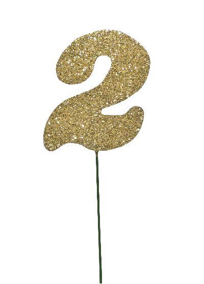 Glimmer-Einzelzahl GOLD 2er