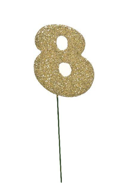 Glimmer-Einzelzahl GOLD 8er