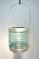 Lampion z. Hängen Glas/Metall BLAU 9*19cm