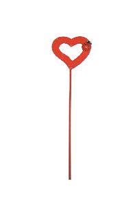 Herz mit Marienkäfer am Stab ROT 48 Stück 4cm