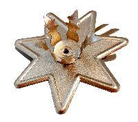 Baumkerzenhalter Stern GOLD MATT  Metall  mit Clip Ø5,5cm  ØKerzenöffnung=14mm