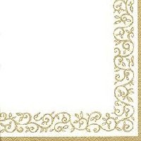 Servietten 33cm Design Gold-Cremeweiss Romantic Border