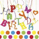 Servietten 33cm Design BUNT Happy Birthday