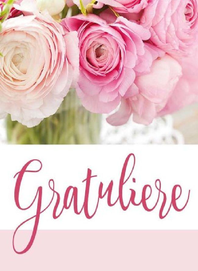 Minikarten Rosa-Weiss / Gratuliere Vanilla - mit Klammer