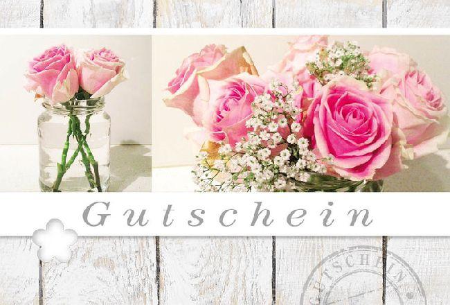 Gutschein Rosa Rosen / Holz Fleur Plus