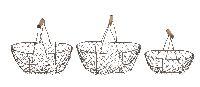 Metall Korbsatz / Drahtkorb ROST 25x17,5xH22/30x21xH26cm oval m.Bügel S/3 20x13xH16cm