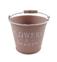 Eimer Flowers & Garden, Metall ROSA 19373 12x10x8,5cm  Bügel u.Holzgriff