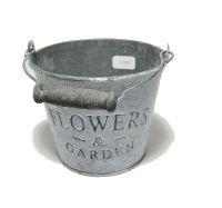 Eimer Flowers & Garden, Metall GRAU-WEISS  11781 12x10x8,5cm  Bügel u.Holzgriff