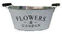 Jardiniere Flowers&Garden GRAU-WEISS  11792 31x21x14,5cm mit Henkel,Metall