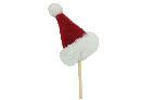 Nikolausmütze/Weihnachtsmütze ROT-WEISS Filz m. Kunstfell Stecker 6x4,5cm 14885