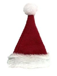 Nikolausmütze/Weihnachtsmütze ROT-WEISS Filz mit Kunstfell 9x6cm 14887