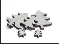 Streusortiment Holz-Mix GRAU 10-0564 5x7cm Dicke:0,7cm Baum-Mix 20Stück 9x2,5cm/6x5cm