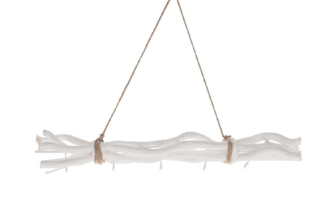 Holz-Zweig / Maulbeeren-Zweig WEISS  11894 zum Aufhängen 50cm mit 5 Metallhaken