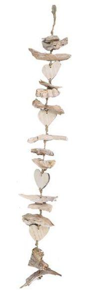 Girlande Driftwood WEISS ABGEW.  30829 mit Herz  90cm