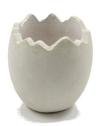 Ei gebrochen Keramik WEISS-RUSTIKAL 14,5x16cm 81509