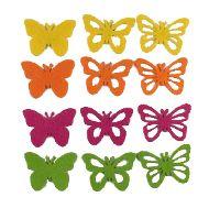 Streusortiment Filz BUNT 14090 4-farbig Schmetterling 5,5cm 3-fach