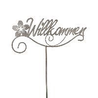 Gartenstecker Willkommen GRAU 77816 Gartenstab Metall 25x109cm Schrift+Blume